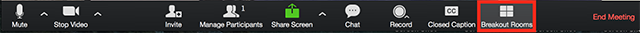 Zoom meeting toolbar displaying 'Breakout Room's option highlighted