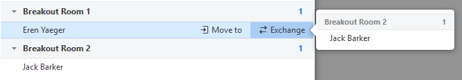 Options displayed upon hovering over a participant's name allow you to move or exchange participants in a room