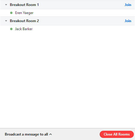 Screenshot displaying participants with green circle icon next to their names after they have successfully joined the room.
