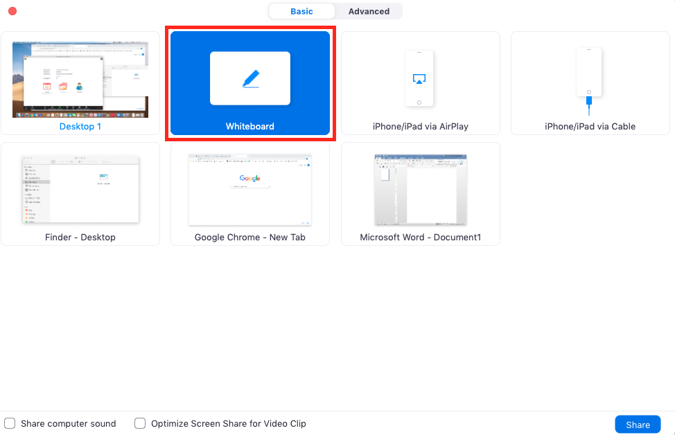 Screenshot of 'Share screen' window with 'Whiteboard' option highlighted