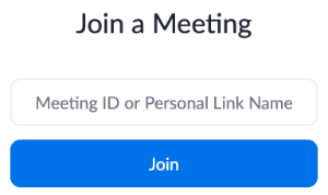 'Join a Meeting' screen displaying 'Meeting ID' input field