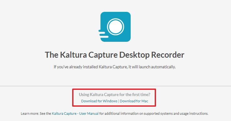 Screenshot of installing Kaltura Capture Space