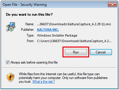 Screenshot of Run Install