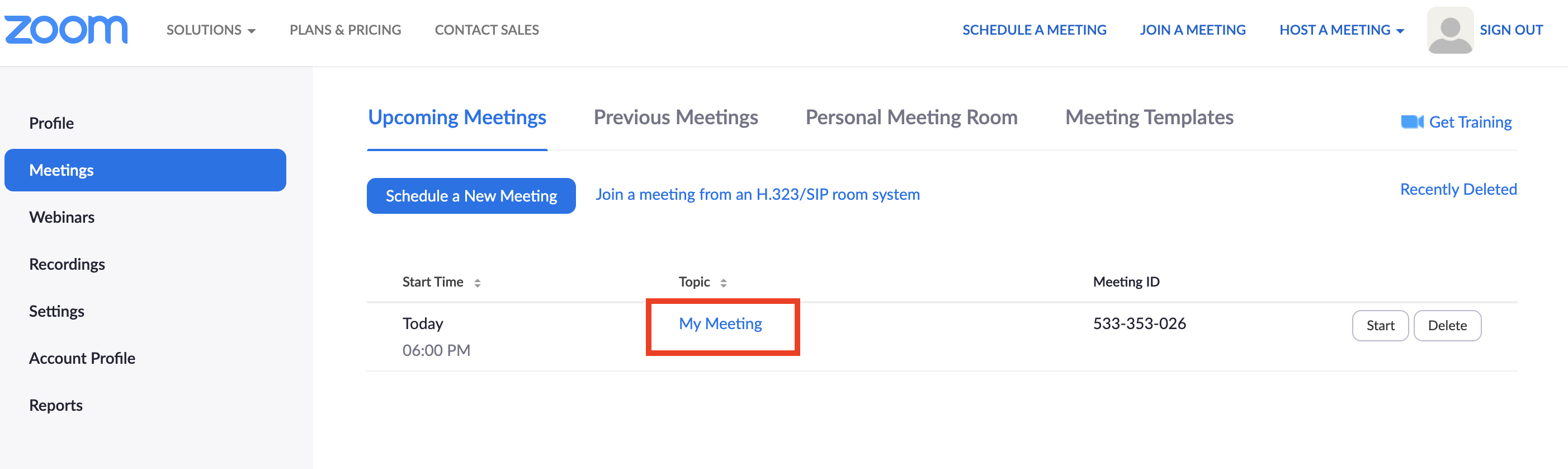 Screenshot of UTS Zoom 'Upcoming Meetings' page with meeting title highlighted