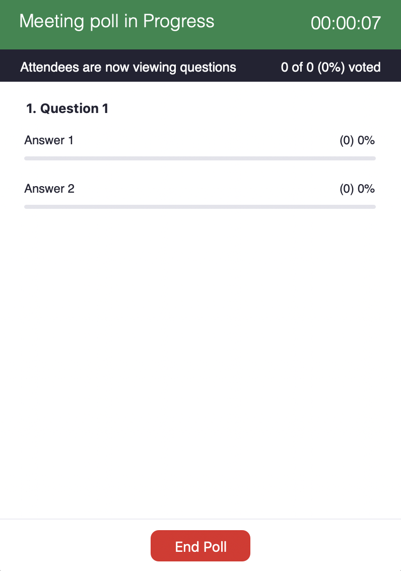 Example of poll displaying number of participants that have selected each answer