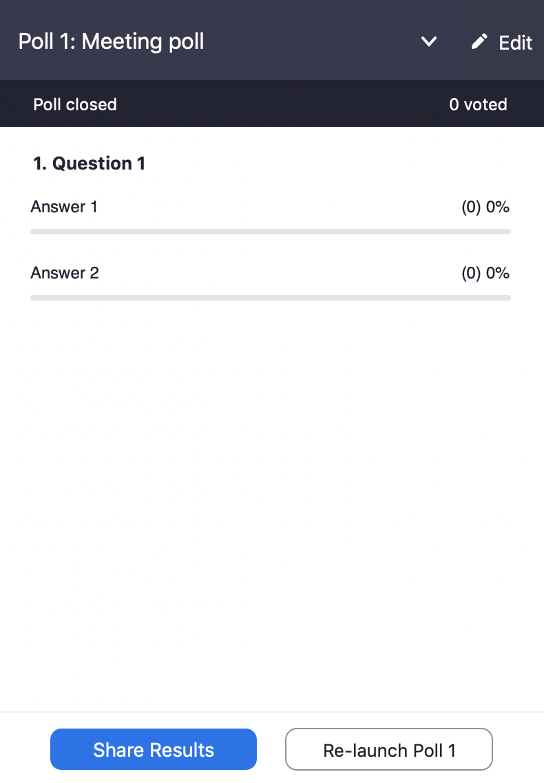 Poll results displaying 'Share results' button