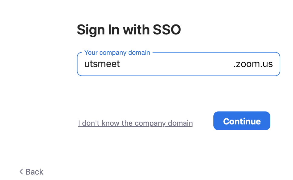 Screenshot of Zoom app displaying 'utsmeet' input in 'Company domain' field.