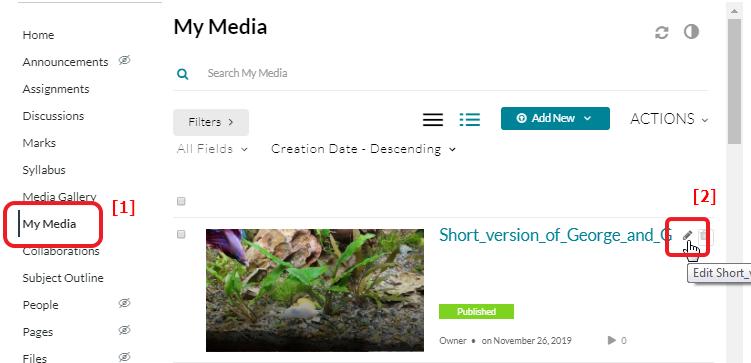 Screenshot of Media Edit