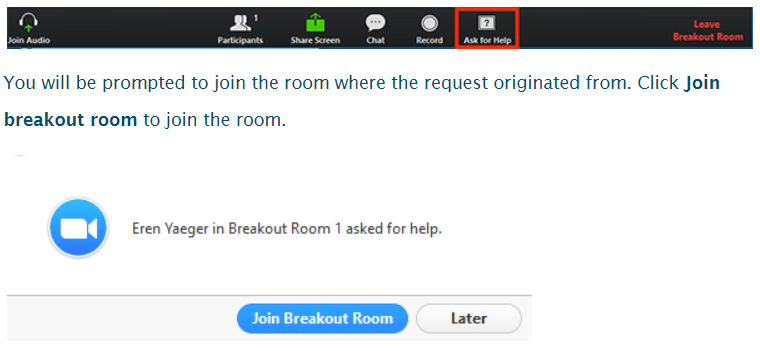 Screenshot of Zoom breakout room displaying 'Ask for help' option on the main toolbar