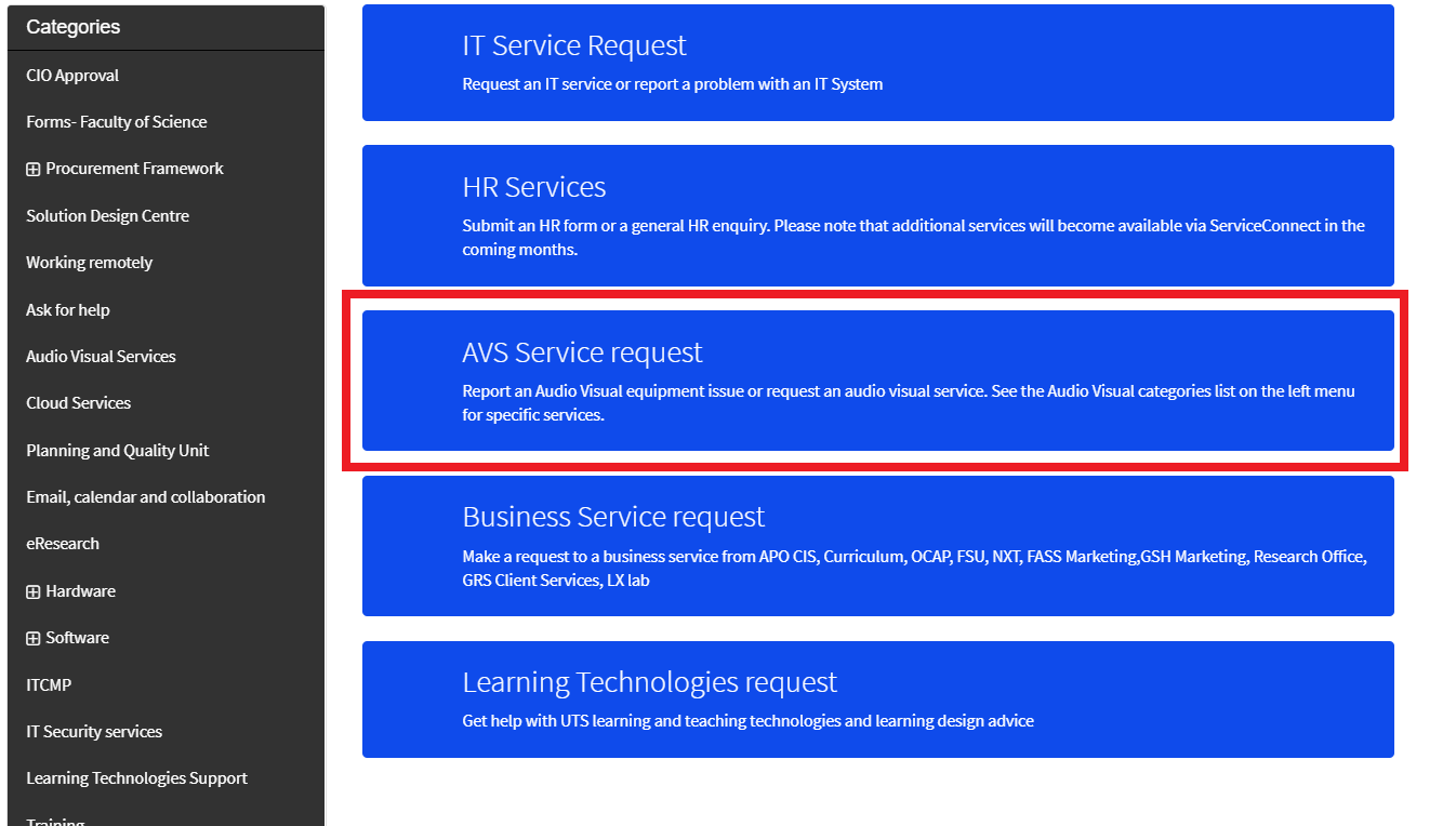 Screenshot of UTS Service Connect 'Requests' page displaying 'AVS Service request' option