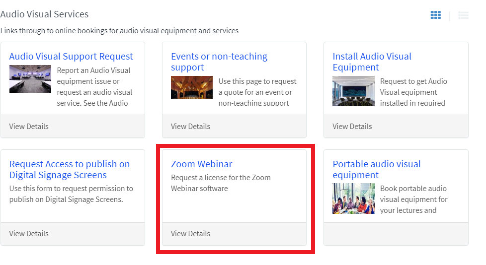 Screenshot of UTS Service Connect AVS page dispaying 'Zoom Webinar' tile