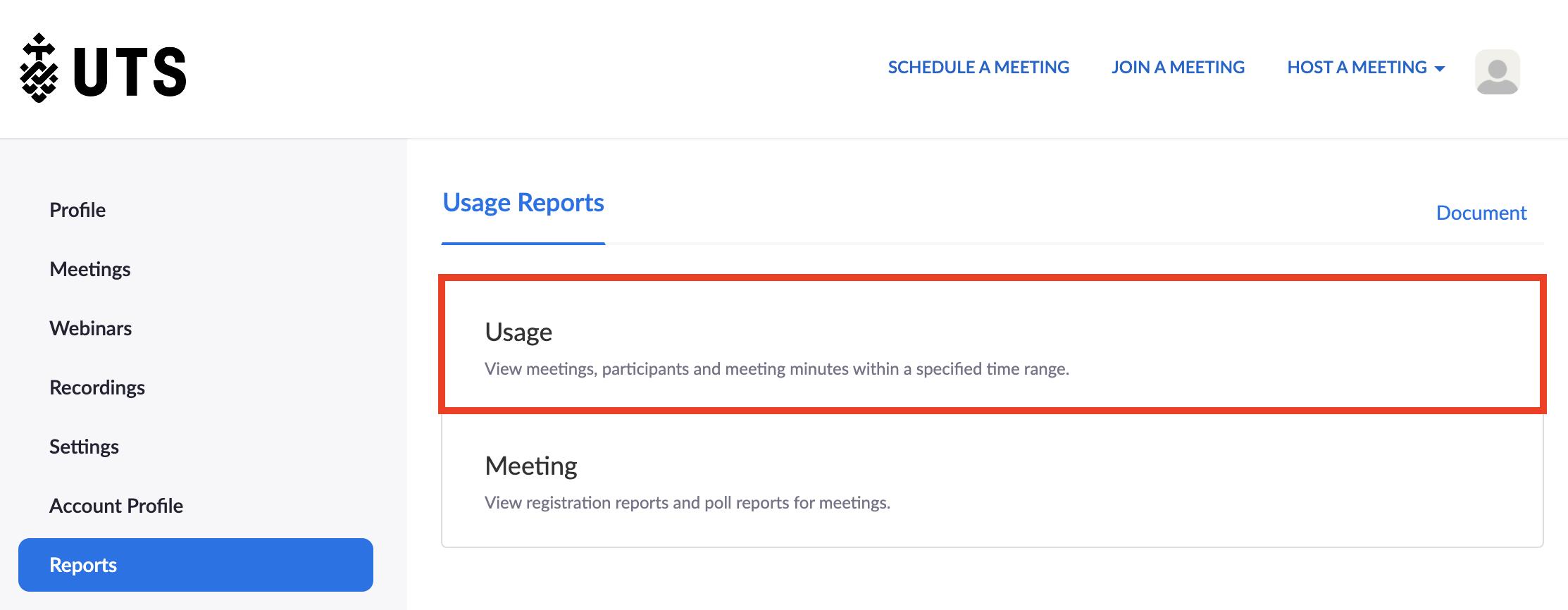 Screenshot of Zoom 'Reports' tab displaying 'Usage' option