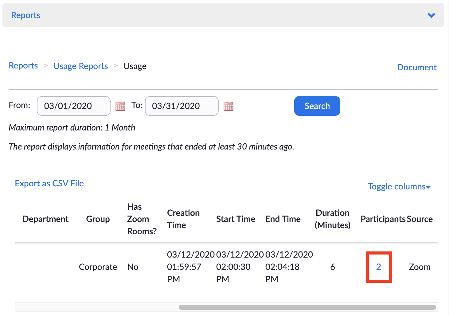 Screenshot of Zoom 'Usage' page displaying clickable number of 'Participants' in a completed Zoom session