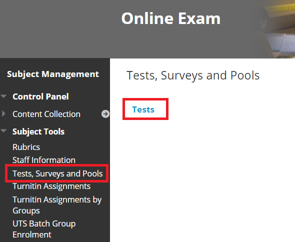 utsonline test button