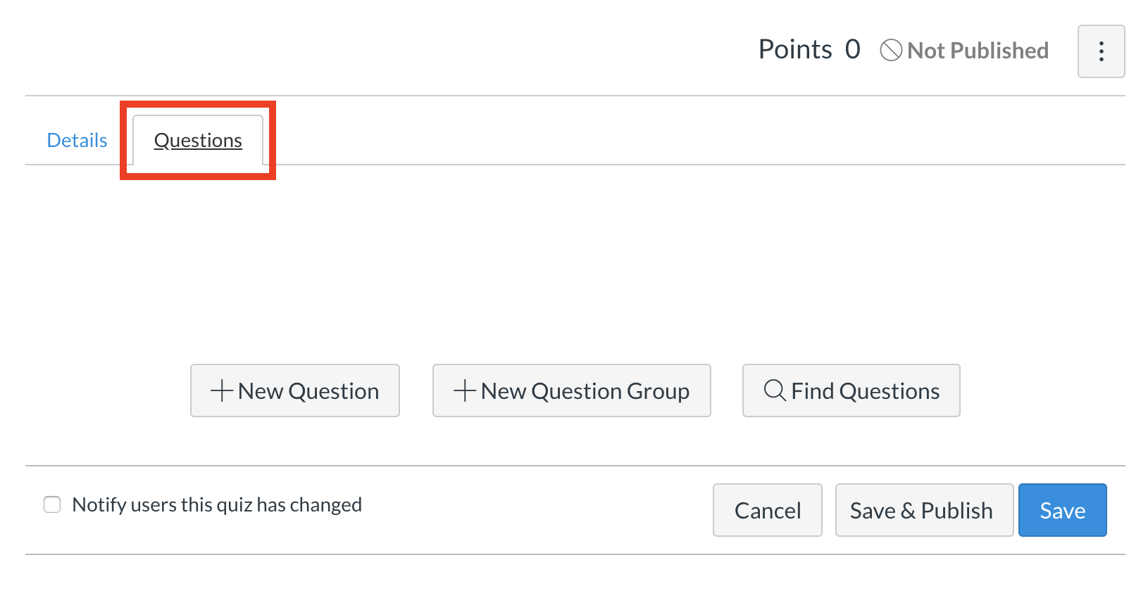 the questions tab
