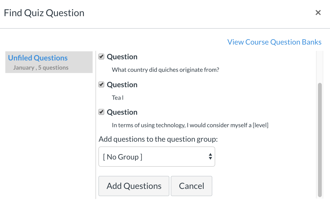 find quiz question feature