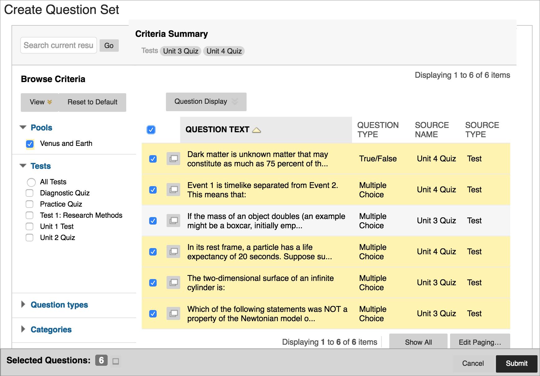 Screenshot of Create Question Set dialog box