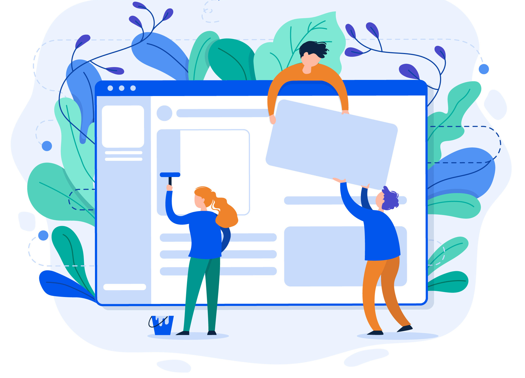 an illustration of three people literally building a webpage, placing tiles and painting it