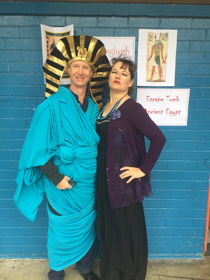 Ronelle Knowles (right) dressed as Cleopatranelle and partner John (left) dressed at Tutankamun