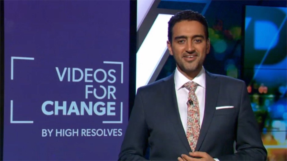 Walid Ali Annoucing the winners for Videos for Change