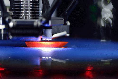 Close up of a 3D printer