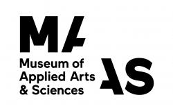 Powerhouse Museum logo. White background with black letters spelling out 'MAAS Museum of Applied Arts & Sciences.