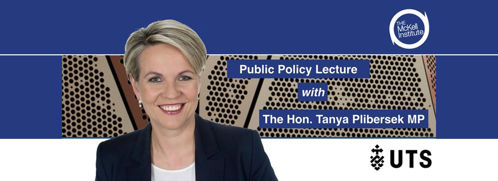 "Image of Tanya Plibersek MP with text ""Public Policy Lecture with Tanya Plibersek MP""."