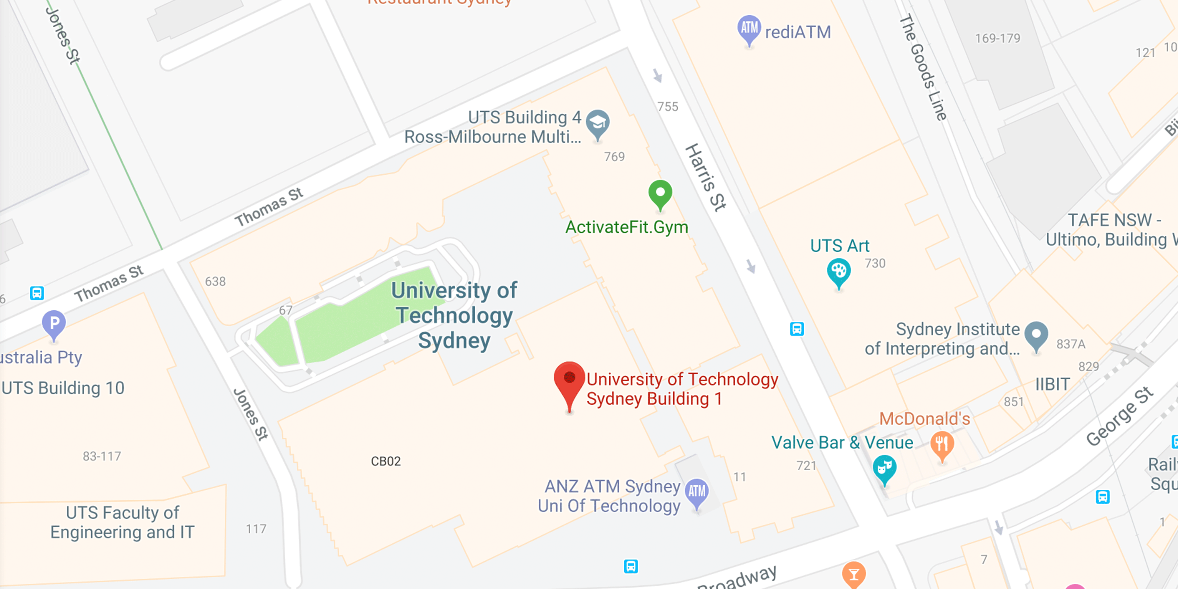 map showing UTS location