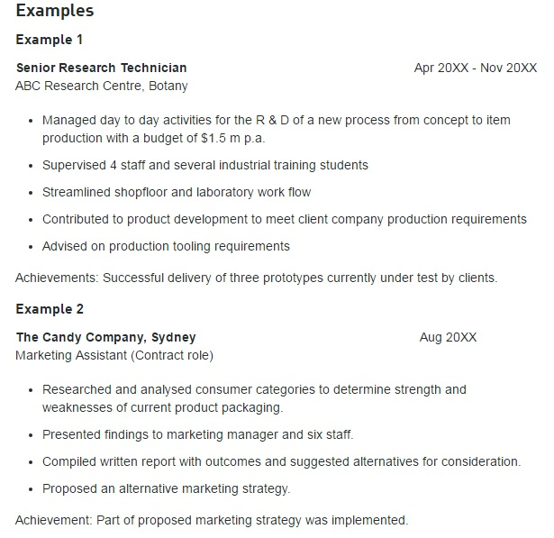 Employment section resume examples - UTS Careers