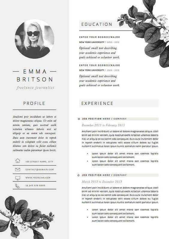 black and white resume with applicant photo and flower illustrations in corners