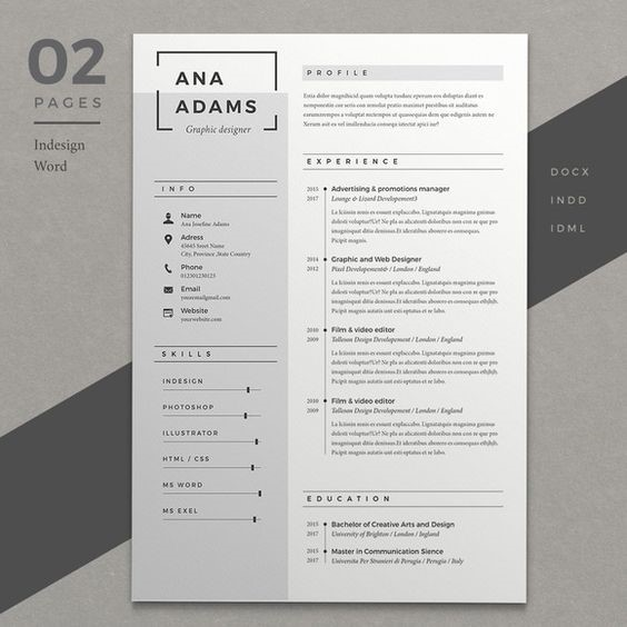 resume on white paper with grey section and black text