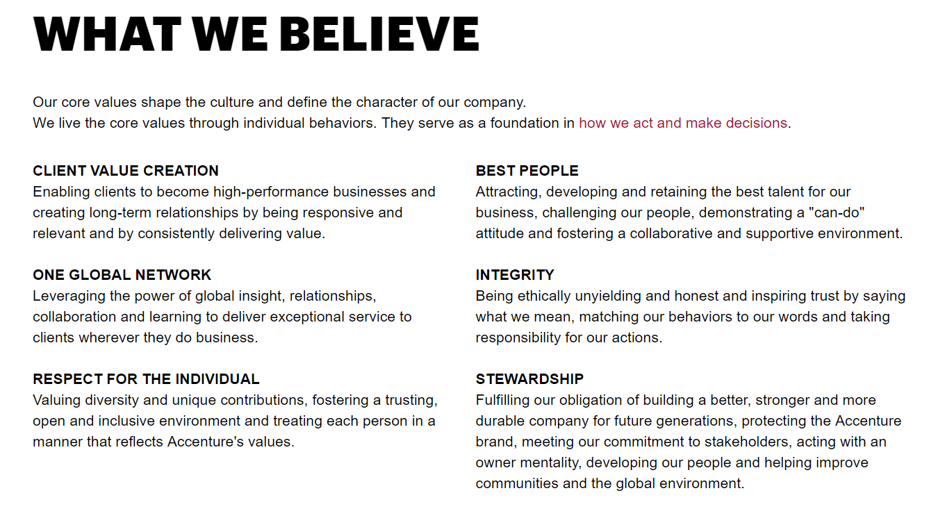 Screenshot of Accenture's values