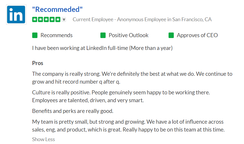 Screenshot of LinkedIn's profile on Glassdoor