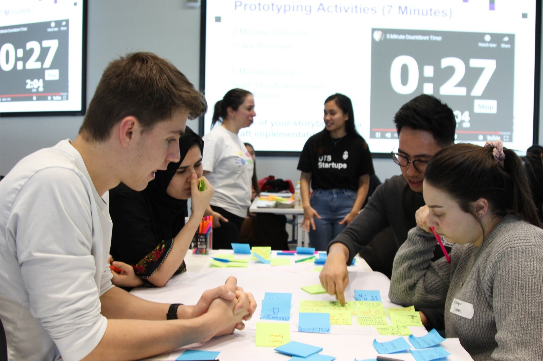 Students around a table, problem solving with post-it notes