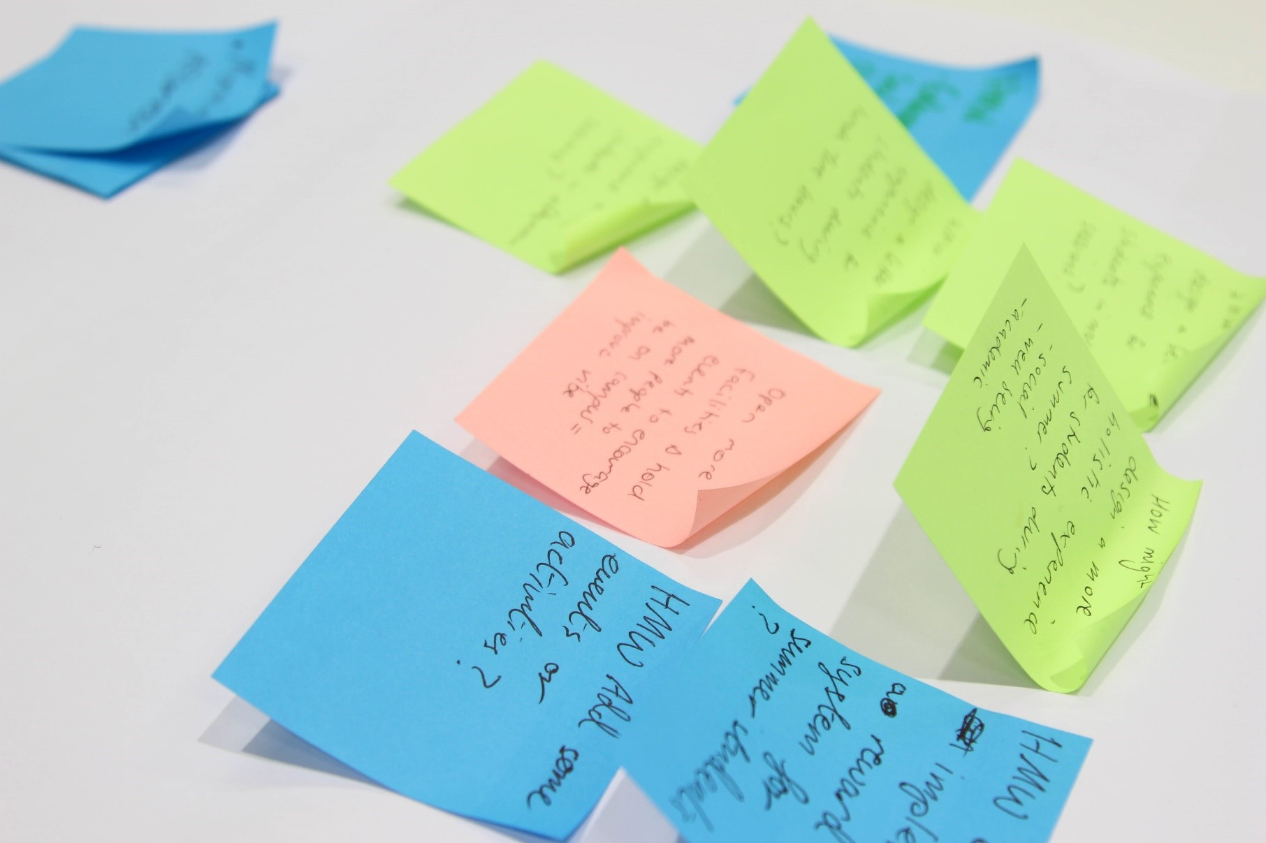 Different colour post-it notes on a desk