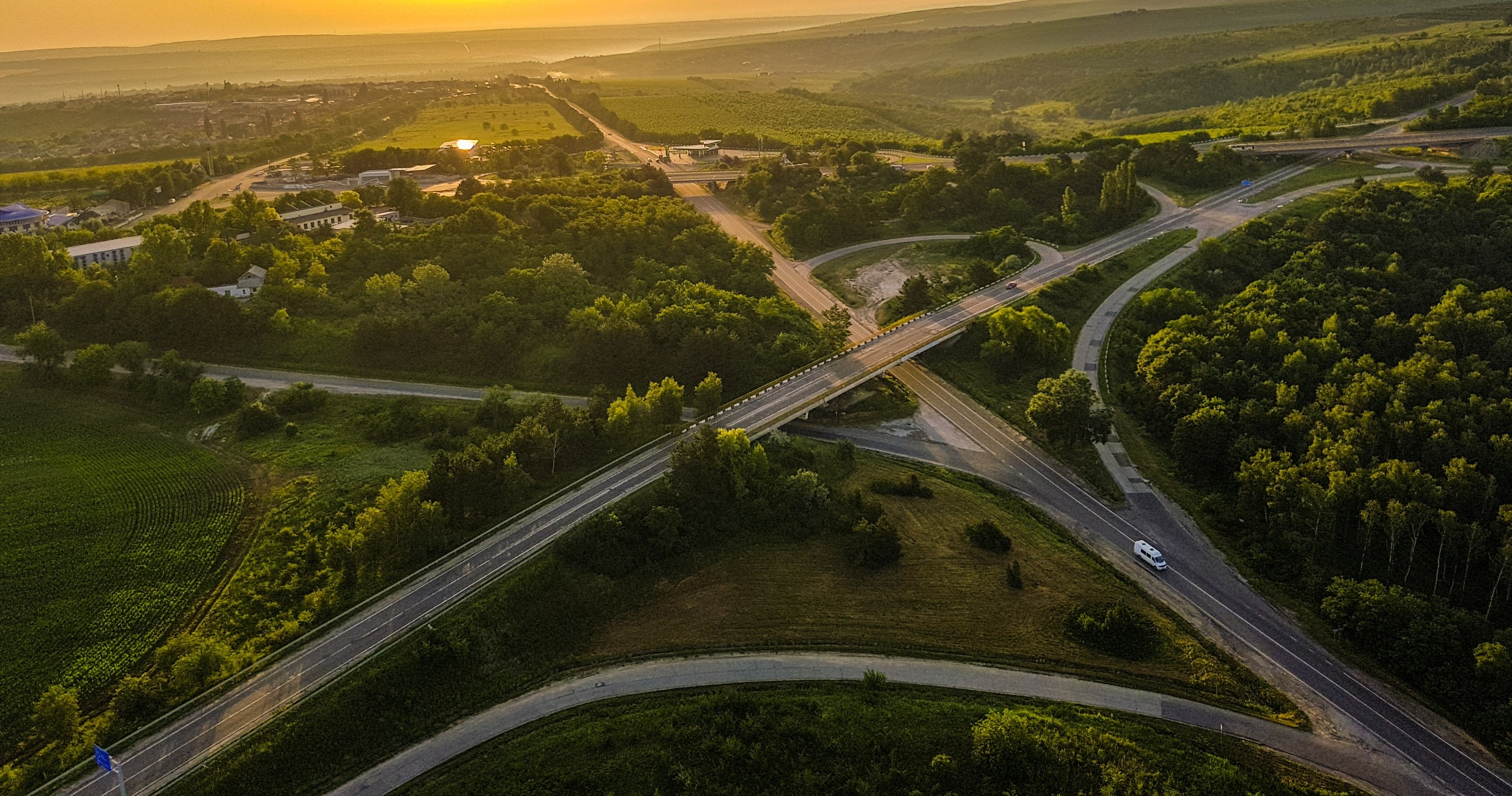 birds-eye view of road intersection