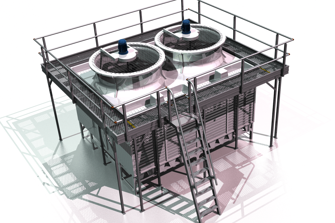 Cooling Tower Platform with Step Ladder