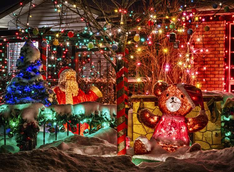 Outdoor Christmas Decorations on a Snowy Front Lawn