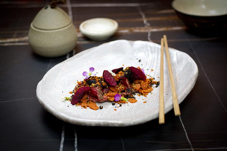 Sake - Beef Tataki with Scichimi Togarashi and Salted Plum