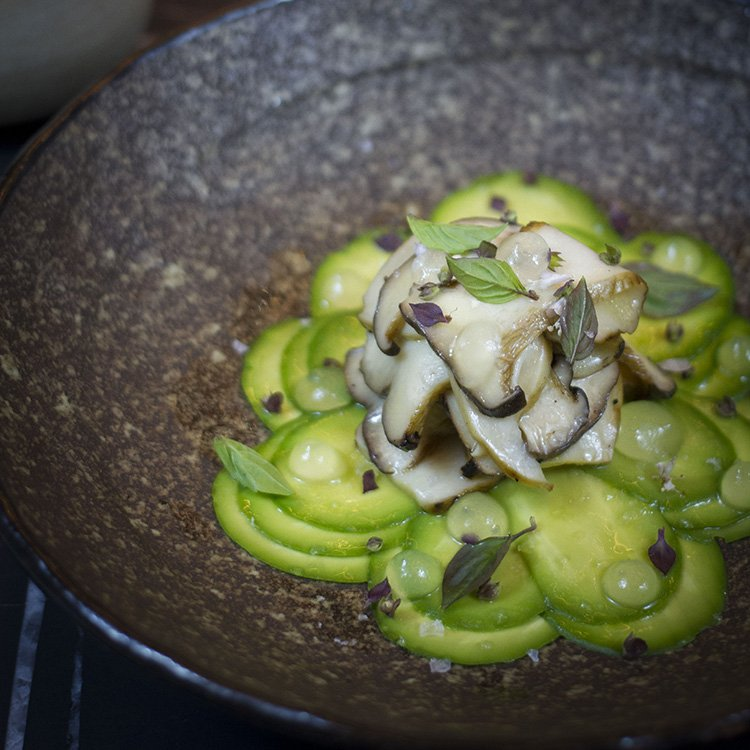Sake - Carpaccio with Avocado and Oyster Mushroom