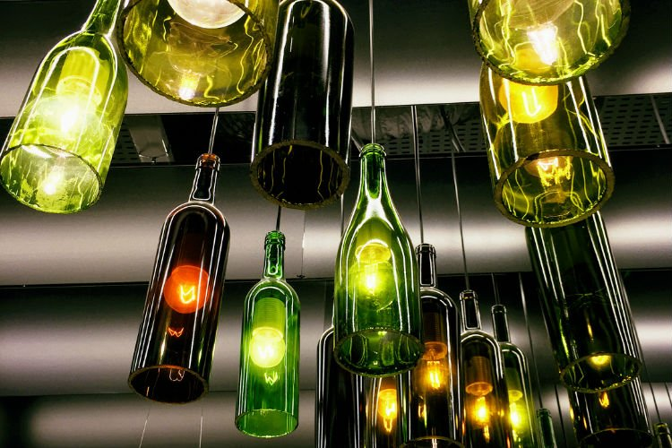 found object, wine bottle lights