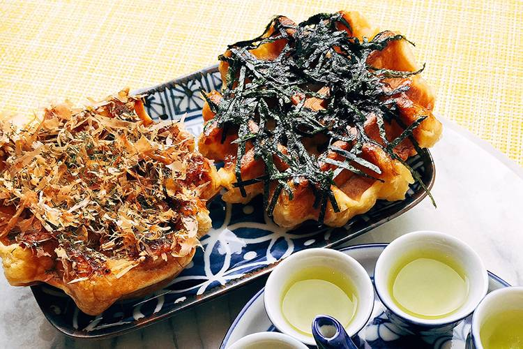 Savoury waffles with bonito flakes and seaweed
