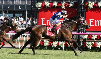 Tosen Stardom wins the 2017 Emirates Stakes