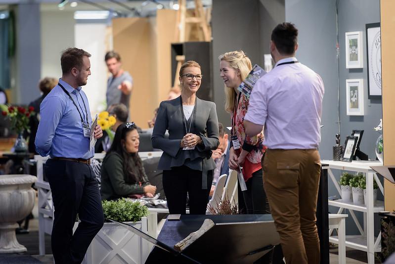 Visitors networking at the Australian International Furniture Fair
