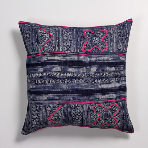 Indigo Love - Vintage Hmong Fabric Cushion with Embroidery