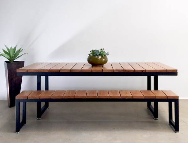 Coogee Outdoor Table - LUI. Steel Tub + Blackbutt Wharf Deck