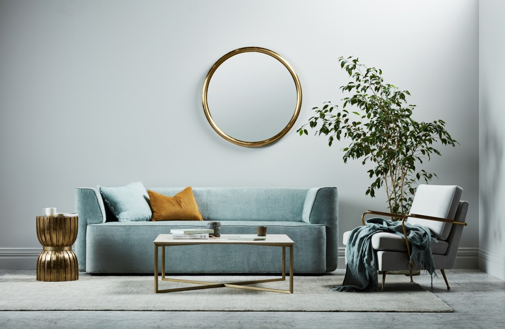 Juno boris 3 seater; Juno conrad sofa chair; Elle luxe rectangular coffee table; Vionnet hourglass stool. Image: GlobeWest