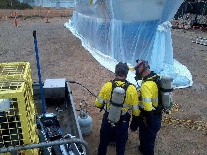 Fumigating a boat for biosecurity