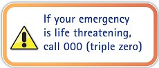 In an emergency phone 000 for help