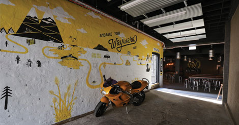 The entrance to Wayward's brewery bar